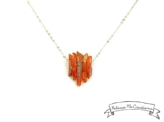 Tangerine Aura Quartz Dream Necklace - product image