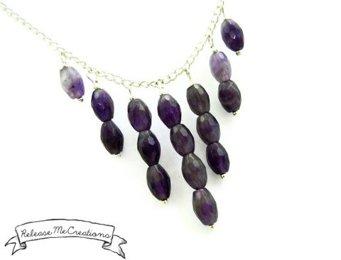 Amethyst,Raindrops,Cascading,Gemstone,Necklace,amethyst, gemstone, necklace, for her, necklace for her, gemstone jewelry, gemstone neckalce, amethyst cascade necklace, amethyst statement necklace, releasemecreations