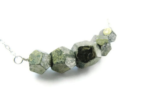 RESERVED,FOR,ANGIE:,Faceted,Pyrite,Geometric,Bead,Necklace,pyrite, faceted, gold, silver, geometric, releasemecreations
