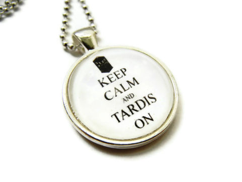 Keep,Calm,Tardis,Dr.,Who,Necklace,Dr Who, tardis, gift, necklace, keep calm jewelry, keep calm necklace, release me creations, typography