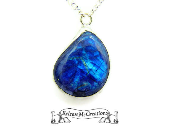 Teardrop Blue Moonstone Gemstone Necklace 33.1 Carats - product image
