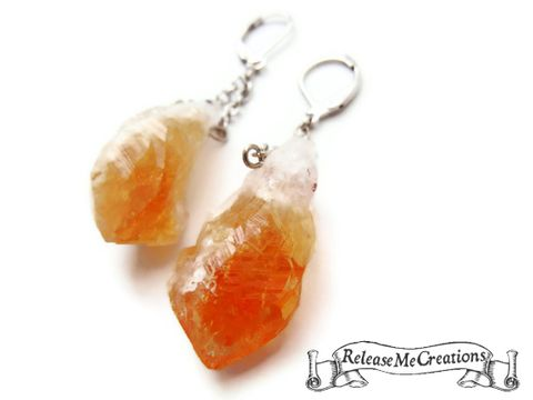 Natural,Raw,Freeform,Citrine,Earrings,citrine earrings, natural citrine, citrine nugget, freeform citrine, orange, white, gemstone earrings, release me creations, citrine dangle earrings