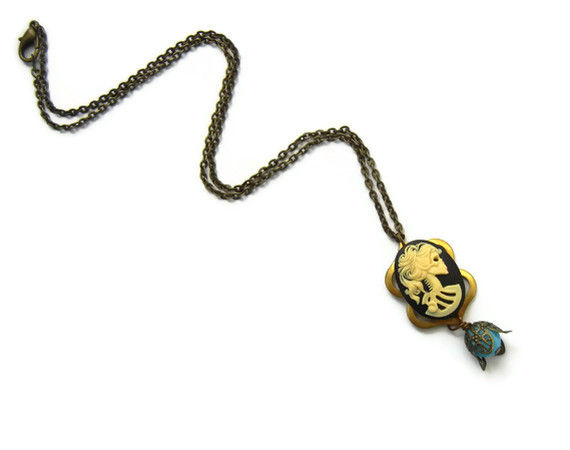 Lady Skull Dia de Los Muertos Cameo Necklace Vintage Filigree - product image