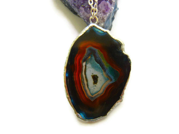 Dramatic Deep Blue Purple Agate Necklace - product image