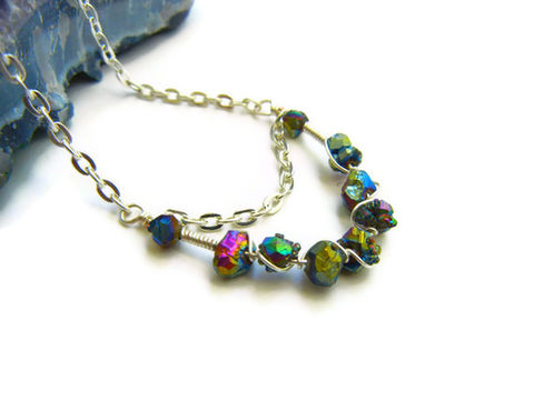 Cosmic,Wire,Wrapped,Titanium,Druzy,Nugget,Necklace,statement jewelry, wire wrapped neckalce, titanium druzy, druzy necklace, drusy necklace, titanium drusy necklace, titanium druzy necklace, gemstone necklace, gemstone jewelry, rainbow druzy, rainbow drusy, release me creations, one of a kind jewelry, uni