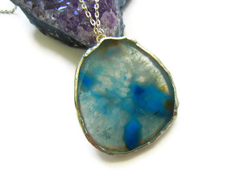 Blue,Ocean,Agate,Slab,Necklace