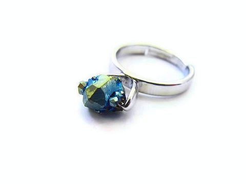 Floating,Titanium,Druzy,Ring,titanium druzy ring, titanium druzy, ring, for her, rainbow ring