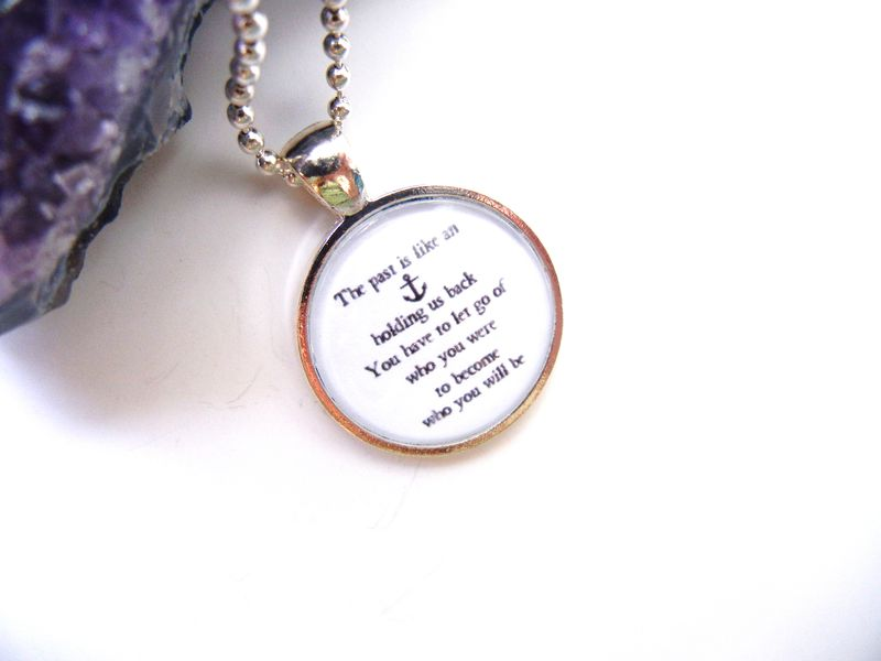 Nautical Anchor Carrie Bradshaw Quote Necklace - product image