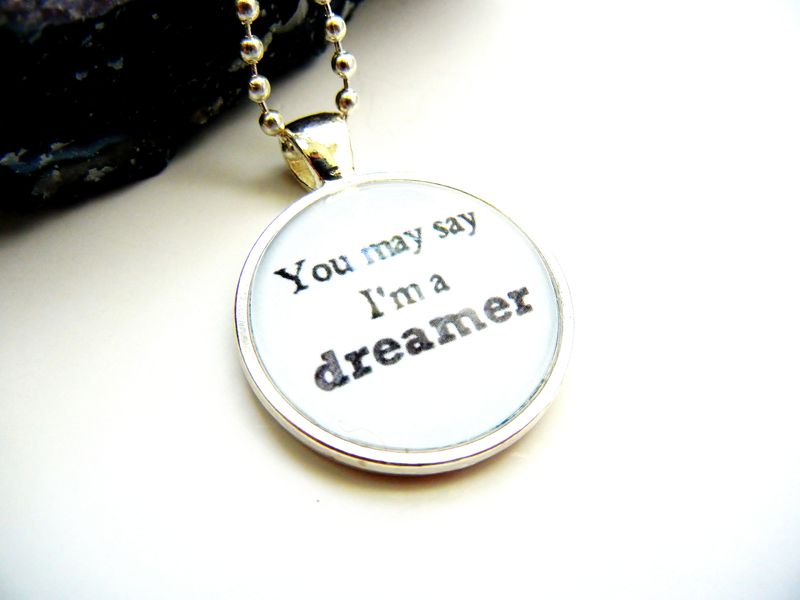 Whimsical Dreamer John Lennon Quote Necklace - product image