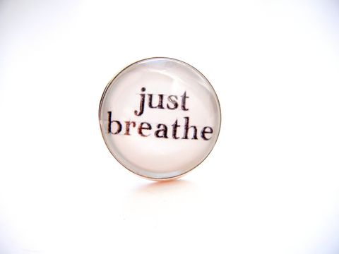 Just,Breathe,Sterling,Silver,Ring,sterling silver ring, just breathe, typography, jewelry, for her, ring