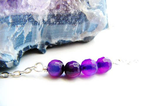 Petite,Faceted,Amethyst,Fire,Agate,Necklace,Fire Agate, purple, amethyst, faceted, necklace, release me creations, gemstone necklace