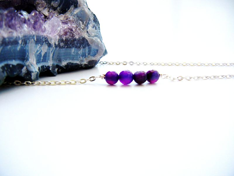 Petite Faceted Amethyst Fire Agate Necklace - product image