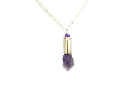 RESERVED FOR MICHELLE: Raw Amethyst Silver Bullet Necklace with Purple Fire Agate - product image