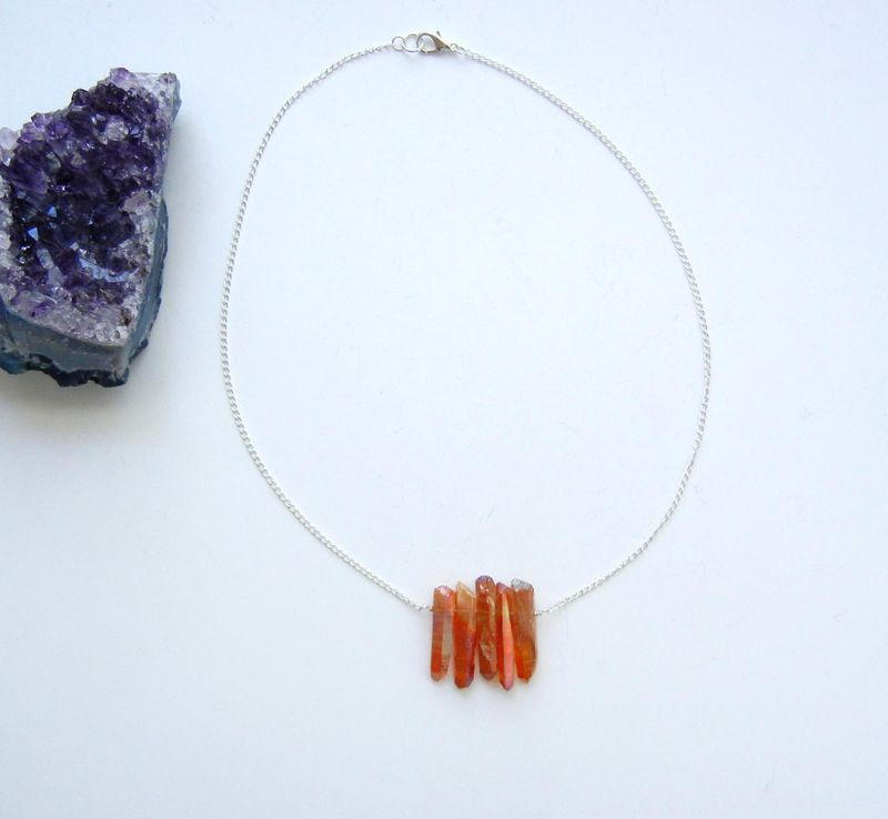 RESERVED FOR HEATHER: Tangerine Aura Quartz Crystal Point Necklace - product image