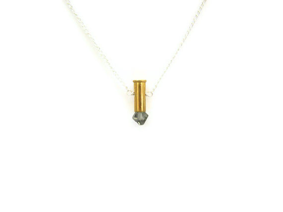 RESERVED: Petite 9mm Grey Swarovski Crystal Bullet Necklace - product image