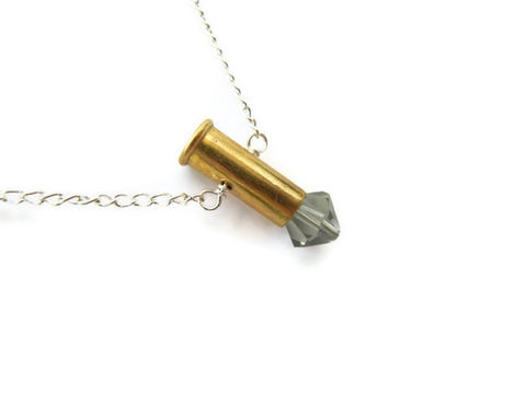 RESERVED:,Petite,9mm,Grey,Swarovski,Crystal,Bullet,Necklace,9mm bullet, bullet necklace, jewelry, release me creations, for her, brass, bright silver, gray, swarovski crystal