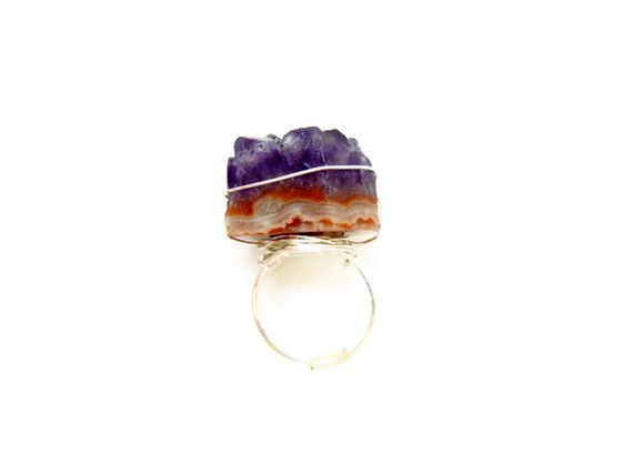 Giant Ametrine Druzy Silver Ring - product image