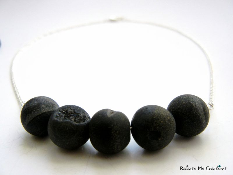 Dramatic Dark Black Gray Agate Druzy Geode Necklace - product image