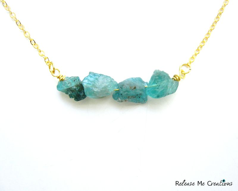 Petite Raw Chalcedony and Gold Necklace - product image