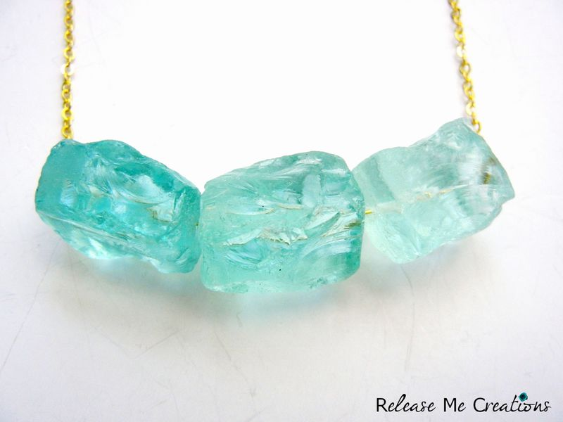 Rare Raw Blue Ice Quartz Crystal Gold Necklace - product image
