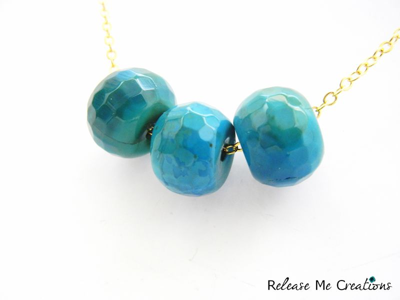 Triple Blue Green Dragon Agate Gold Necklace - product image
