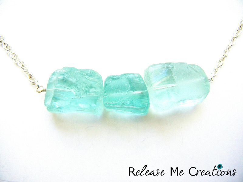 Raw Blue Ice Quartz Crystal Silver Necklace - product image