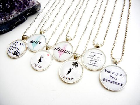 Custom,Personalized,Typography,and,Whimsy,Necklace,custom, personalized, whimsical, silhouette, banksy, quote, release me creations, gift, bride, bridesmaid, sister, best friend