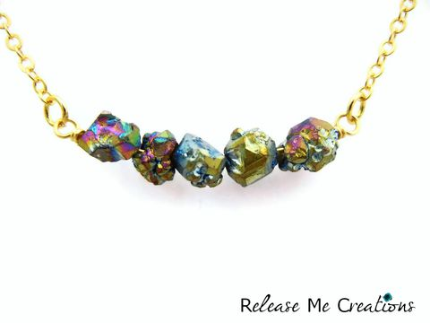 Petite,Gold,Titanium,Rainbow,Druzy,Necklace,Titanium Druzy, Rainbow, green, blue, pink, yellow, raw, freeform, bohemian, natural, gold, release me creations, jewelry, for her, gift idea