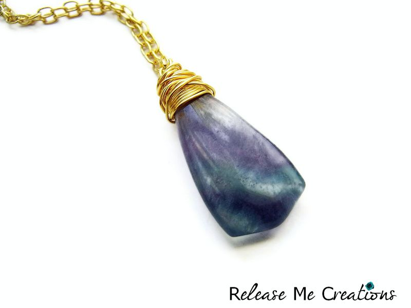 Long Opera Length Gold Wire Wrapped Fluorite Necklace - product image