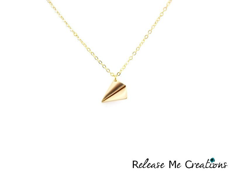 Paper Airplane Gold Charm Necklace - product image