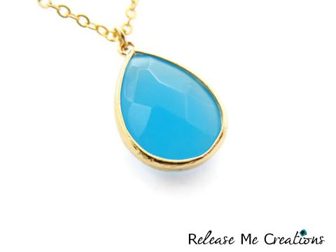 Sky,Blue,Faceted,Glass,Teardrop,Necklace,blue, glass, gold, bohemian, release me creations, necklace, teardrop, gift, for her, jewelry