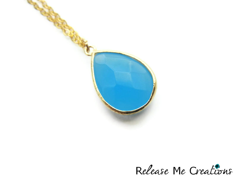 Sky Blue Faceted Glass Teardrop Necklace - product image
