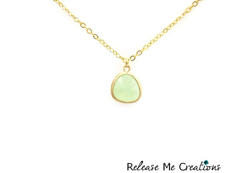 Petite Faceted Mint Green Glass Teardrop Necklace - product image