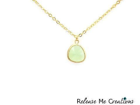Petite,Faceted,Mint,Green,Glass,Teardrop,Necklace,gold, mint green, fluorite, glass, release me creations, jewelry, necklace, for her, romantic