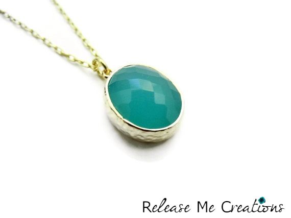 Oval Teal Faceted Glass Drop Necklace - product image