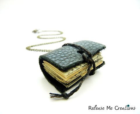 Miniature,Book,Leather,Journal,Necklace,miniature book, miniature leather journal, mini book, tiny book pendant, miniature book pendant, miniature book necklace, anthropologie book pendant, release me creations