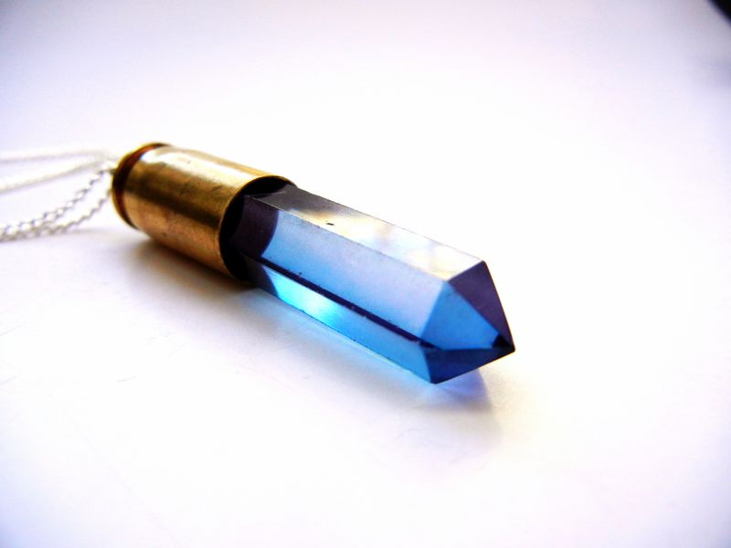 Amethyst Aura Quartz Crystal Bullet Necklace - product image