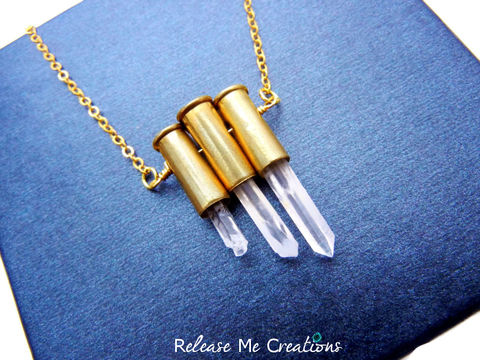 Triple,Petite,9mm,Quartz,Crystal,Necklace,petite, bullet, 9mm casing, brass, quartz crystal, healing, jewelry, release me creations, for her, edgy, rocker, hunter, military, army, marines