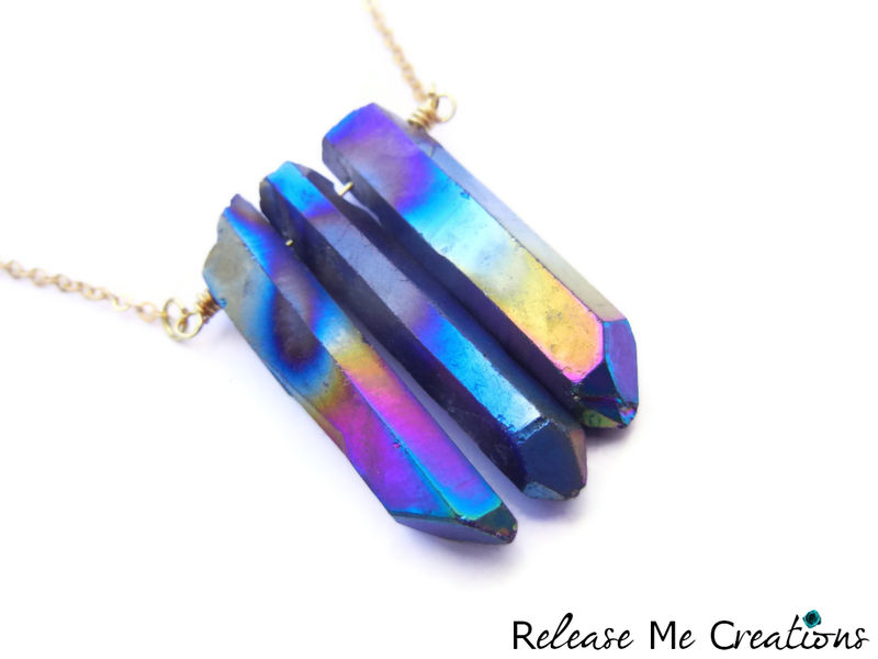 Rainbow Aura Quartz Crystal Point Necklace - product image