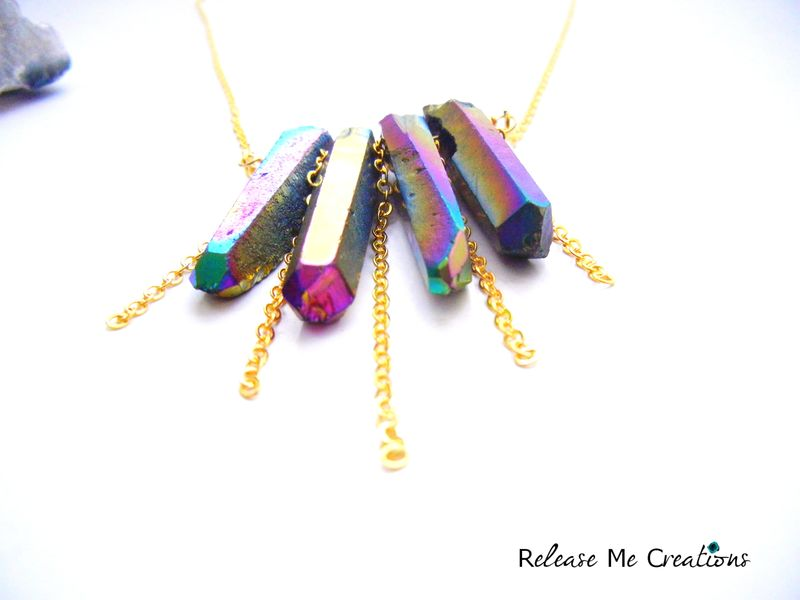 Rainbow Titanium Druzy Cascading Gold Chain Necklace - product image