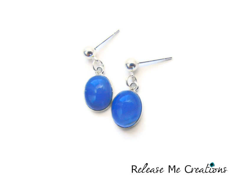 Lavender Chalcedony Sterling Silver Post Earrings - product image