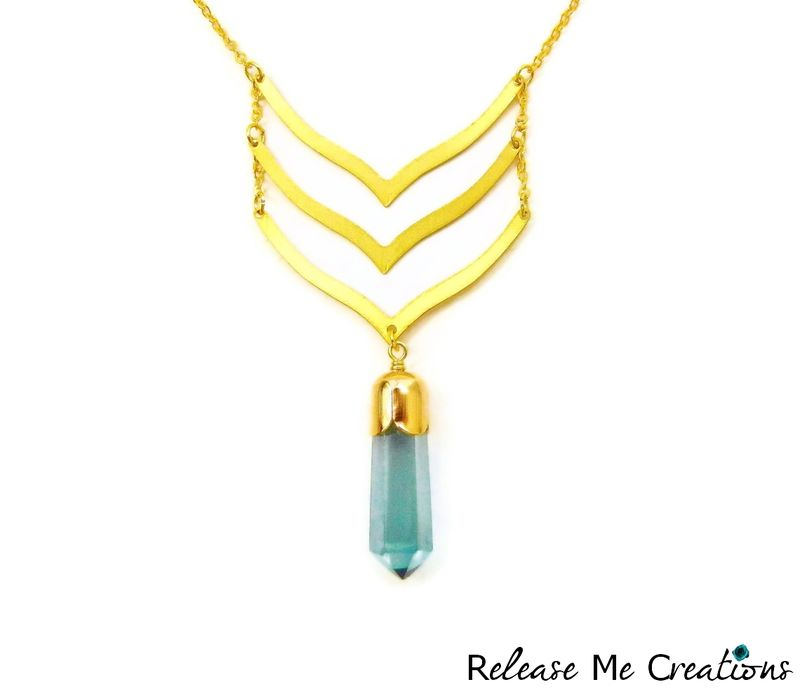 Mythic Chevron Aqua Aura Quartz Crystal Necklace - product image
