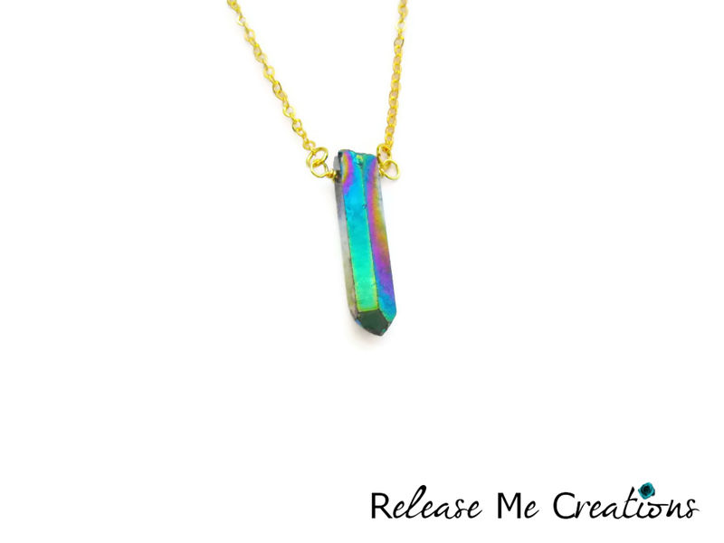 Single Rainbow Titanium Quartz Crystal Point Necklace Silver Gold - product image