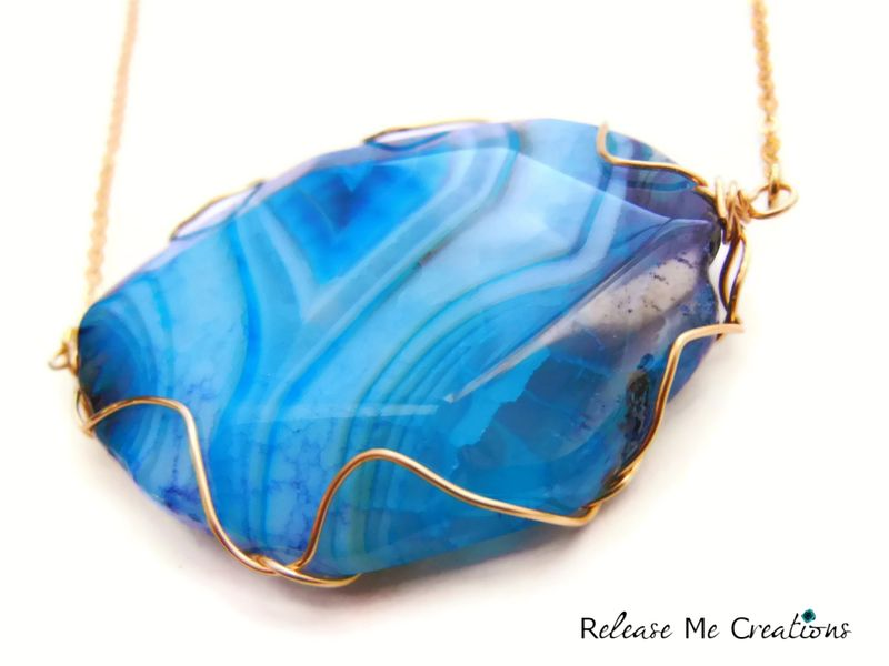 Stunning Blue Dragon Agate Gold Statement Necklace - product image