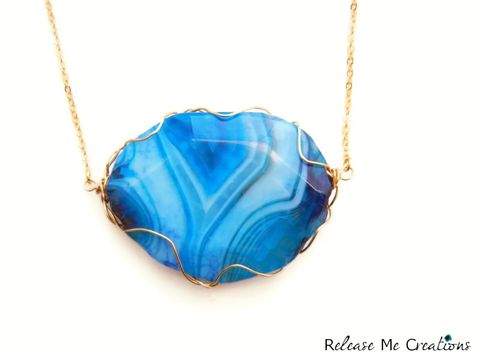 Stunning,Blue,Dragon,Agate,Gold,Statement,Necklace,blue dragon agate, gemstone, geode, jewelry, necklace, release me creations, for her, statement, bohemian, boho, natural, healing