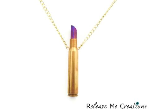Inverted,Rifle,Bullet,Titanium,Quartz,Crystal,Point,Necklace,bullet, jewelry, casing, rifle, hunter, woman, cowgirl, nra, pro gun, titanium aura quartz, edgy, rocker, glam