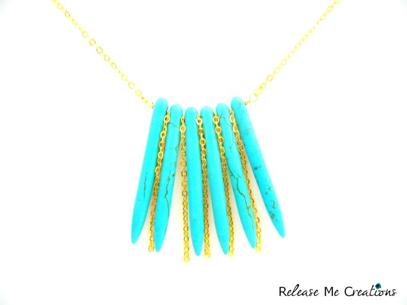 Tribal Glam Turquoise Howlite Gold Cascade Necklace - product image