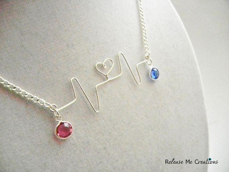 CUSTOM ORDER: Customized Silver Heartbeat Necklace Two Birthstones Mother Daughter - product image