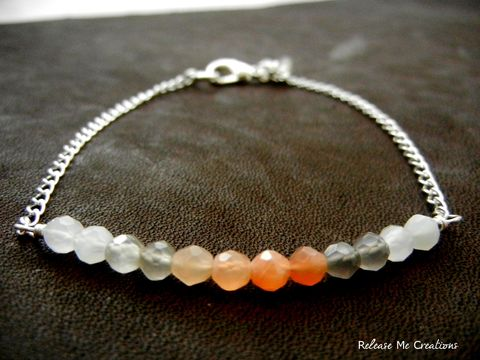 Ombre,Peach,and,Gray,Moonstone,Bracelet,moonstone, ombre, fashion, pink, peach, coral, gray, white, linear, simple, romantic, bracelet, for her, brandiglanville, beverly hills, chic, real housewives of beverly hills