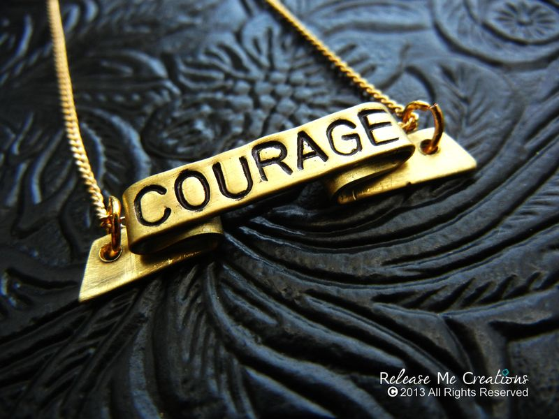 Positive Mantra Banner Necklaces Fearless Courage Strength Dreamer - product image